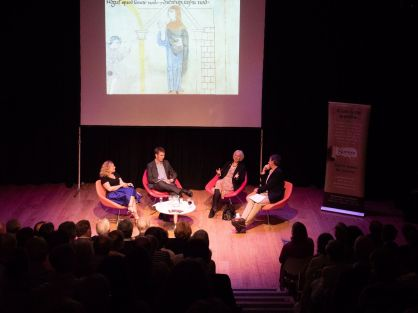 Dr Katherine Weikert, Dr Ryan Lavelle, Prof. Barbara Yorke, and Prof. Michael Wood at the Winchester Discovery Centre, 12 Sept 2018